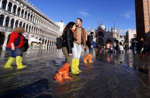 Tourists in Venice Floods